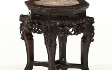 Chinese Carved Wood Marble Top Low Table