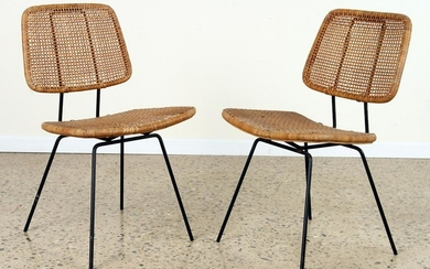 PAIR ITALIAN IRON AND RATTAN SIDE CHAIRS C.1950