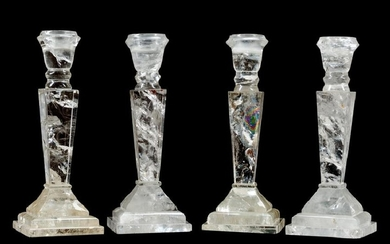 A Set of Four Louis XVI Style Rock Crystal Candlesticks