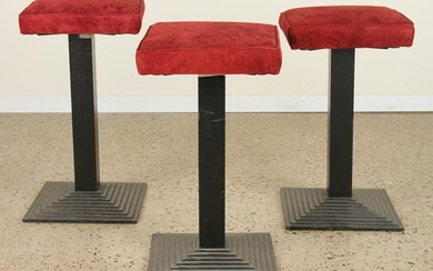 SET 3 ITALIAN IRON BAR STOOLS UPHOLSTERED SEAT