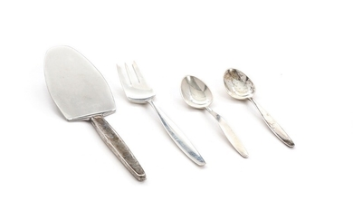"Tias Eckhoff: ""Cypress"". Sterling silver cutlery. Made by Georg Jensen, after 1945. Weight excl. part with steel app. 520 gr. (24)"