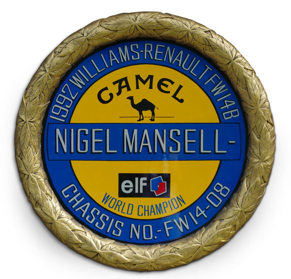 A hand-painted 'Nigel Mansell - Williams Renault FW14B 1992' celebratory roundel,