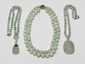 Chinese Jade Bead Necklaces w Carved Pendants, 3