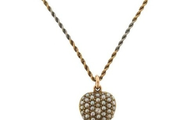 A Victorian seed pearl and diamond-set gold heart...