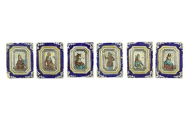 A SET OF SIX MOULDED FIGURAL POTTERY TILES Pahlavi