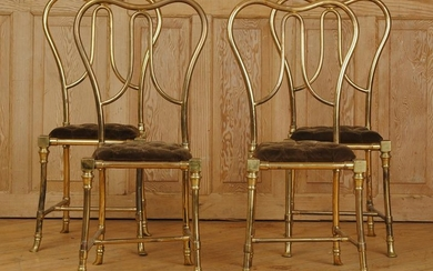 UNUSUAL SET 4 BRONZE SIDE CHAIRS UPHOLSTERED 1960