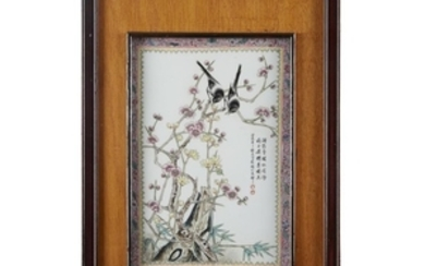 """A pair of Chinese porcelain """"Birds and Flowers"""" plaques..."""