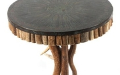 Contemporary Round Elk Antler Side Table