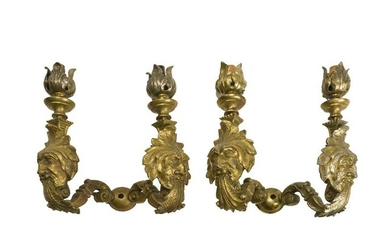 A pair of French bronze sconces