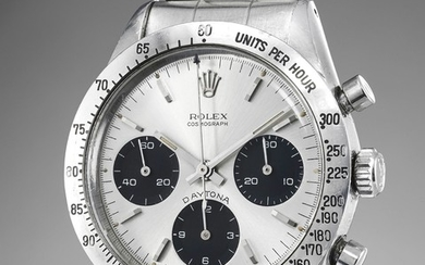 Rolex, Ref. 6239 An incredibly rare, very well-preserved stainless steel chronograph wristwatch with silvered soleil-finished dial displaying a highly rare graphic layout