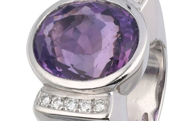 18 kt. White gold - Ring Amethyst - Diamonds
