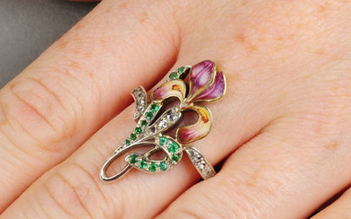 An Art Nouveau gold and silver, emerald, rose-cut diamond and enamel iris floral ring.