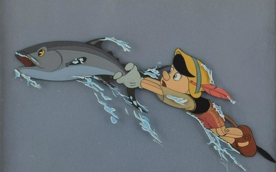 Pinocchio and Fish production cel from Pinocchio