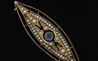 Victorian Gold, Blue Sapphire and Seed Pearl Pin/Brooch