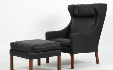 Børge Mogensen. Wing chair and footstool, Models 2204 and 2202 (2)