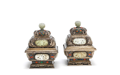 A pair of jade, coral and hardstone-inset white metal incense burners and covers