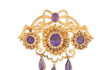 An amethyst and seed pearl brooch/pendant,