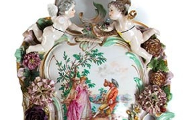 Applique Porcelain wall sconce with a very complex shape; two...