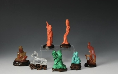 (7) Chinese Carved Stone Figures and Animals