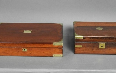 ENGLISH LAP DESK AND FITTED CUTLERY BOX