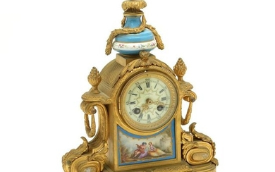 French Gilt Bronze and Porcelain Mantle Clock.