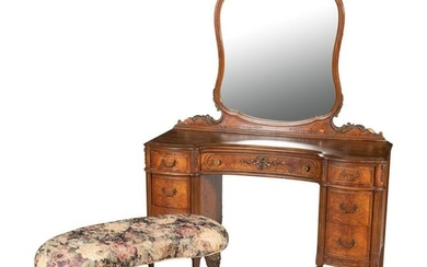 French Style Walnut Vanity and Bench