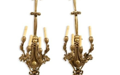 Pair of Louis XVI style gilt bronze wall lights