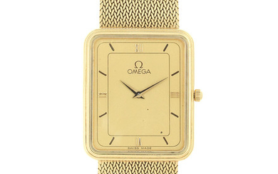 Omega. An 18K gold quartz rectangular bracelet watch