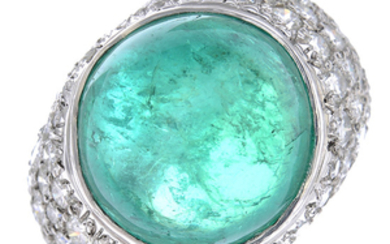 A platinum Colombian emerald and diamond ring.