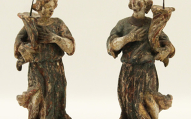 PR. OF 18TH C. CARVED WOOD SAINT PRICKET CANDLESTICKS