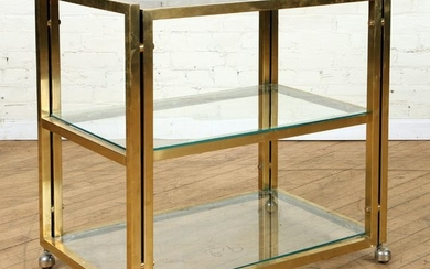 3 TIER BRASS GLASS ETAGERE SMOKED GLASS TOP C1970