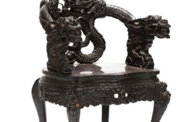 Vintage Chinese Carved Wood Arm Chair