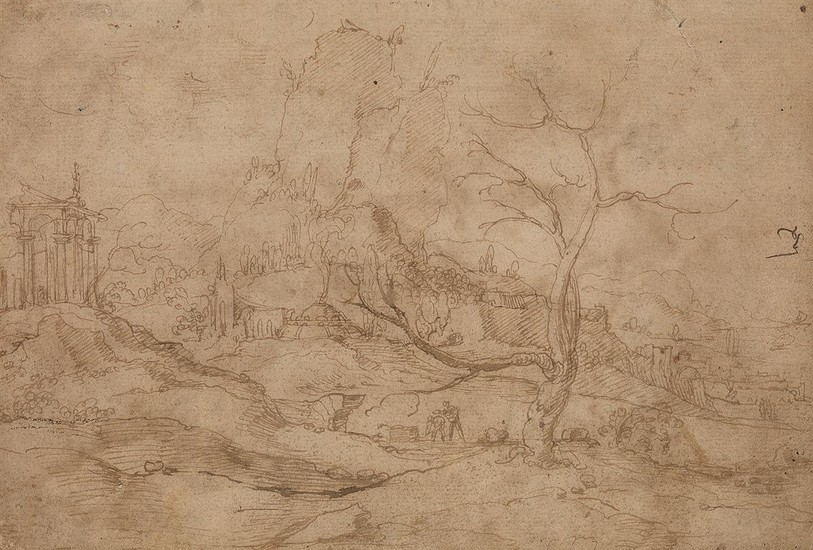 FLEMISH SCHOOL, 16TH CENTURY An Imaginary Landscape with a Loggia and a Large, Weathered Tree.