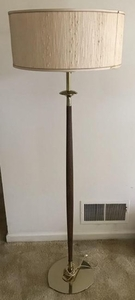 Lot Art Mid Century Modern Carved Teak Wood Floor Lamp