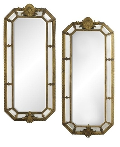Pair of French Bronze and Glass Mirrors
