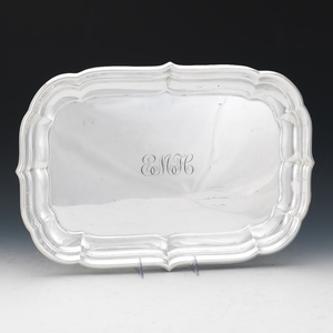 """Reed & Barton Sterling Silver Tray, """"Windsor"""" Pattern, dated 1950"""