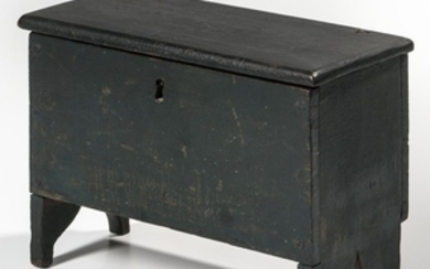Miniature Green-painted Cherry Six-board Chest