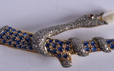 A GOOD GOLD DIAMOND RUBY AND SAPPHIRE SNAKE BROOCH.