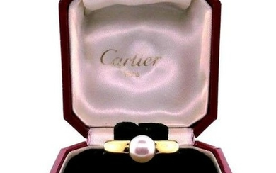 CARTIER 18k Yellow Gold & Pearl Ring w/Box Circa 1994