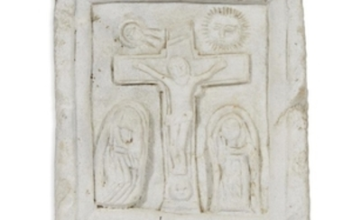 A carved white marble plaque depicting the Women at...