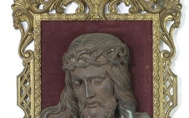 Continental bronze relief plaque of Christ