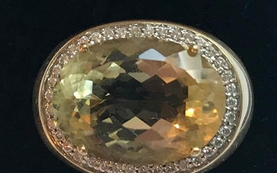 Large gents 18ct yellow gold citrine and diamond ring, size ...