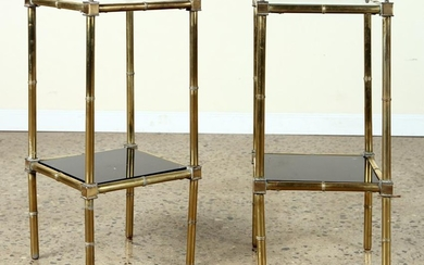 PAIR 2-TIER BRASS ENDS TABLES CLEAR SMOKED GLASS