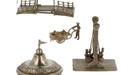 (4) Lot miniatures including a merry-go-round, duo swing and drawbridge silver.