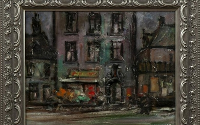 "C. Verhagen, ""Continental Street Scene,"" 20th c., oil"