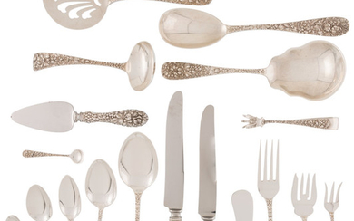 A Ninety-Piece Stieff Rose Pattern Silver Flatware Service (introduced 1892)