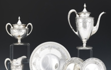 Barbour Silver Co. Three-Piece Coffee Service with Two Bowls by Reed & Barton and Platter by Towle