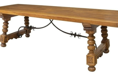 "LARGE SPANISH CARVED OAK DINING TABLE, 98.5""L"