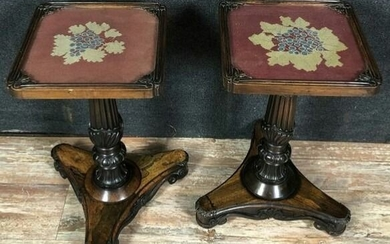 Embroidery, Side table, Pair of side tables - Napoleon III - Mahogany, Rosewood - Second half 19th century