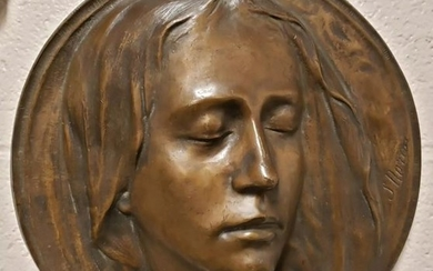 1920's Virgin Mary Bronze Raised Relief Plaque by